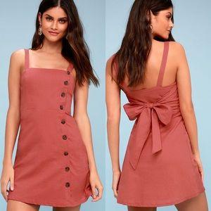LULU'S Rust Red Button Mini Dress